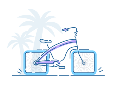 Square wheeled bicycle machine science icon illustration trees palm cruiser beach bike bicycle wheels square