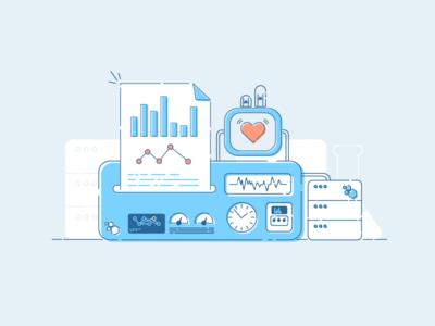Improved Developer Reporting product ui retro server graph design web illustration learning machine reporting developer