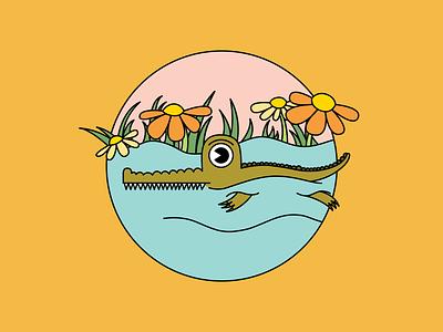 Baby Croc cute flower flowers crocodile animal fun color illustrate character illustration