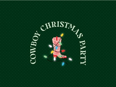 It's a Cowboy Christmas type illustration holidays happy holidays holiday cowboy boots western cowboy christmas