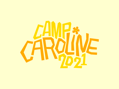 Camp Caroline design yellow color camping camp summer summer camp typography type