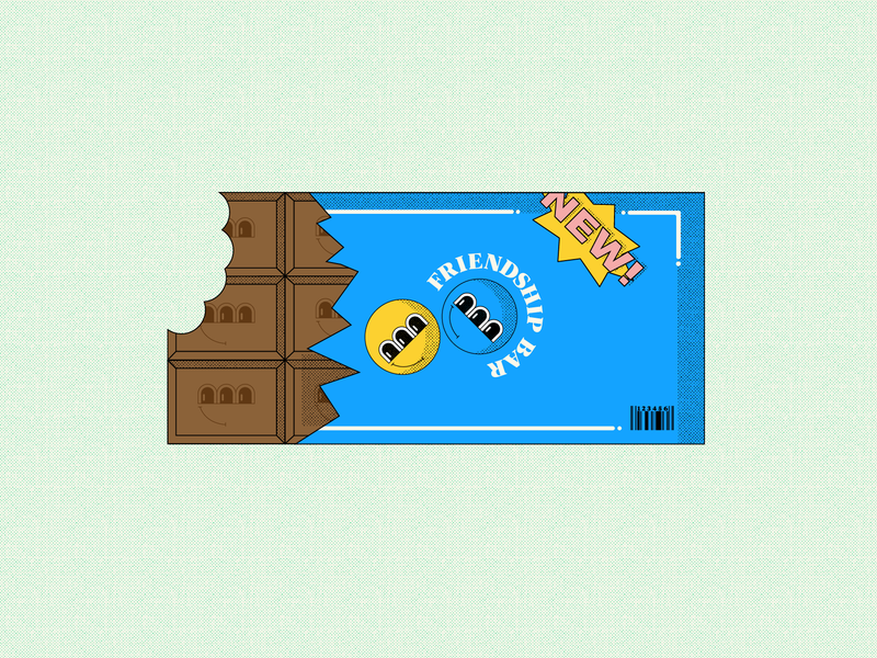 Friendship Bar fun new friendly friendship chocolate bar chocolate friends friend color colorful texture illustration food candy bar candy