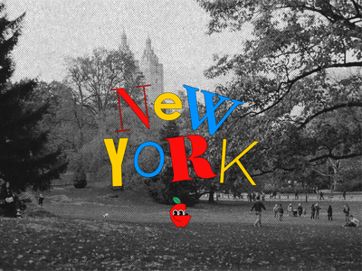 New to New York film photo black and white yellow blue red primary colors funky fun illustrate typography type color design eyes illustrated photography illustration