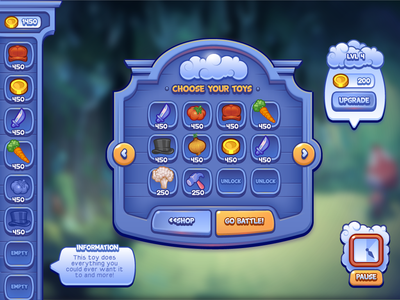 Breaktime Scrapped Game 1 style 1 game ui mobile social casual ios gui blue icons clouds
