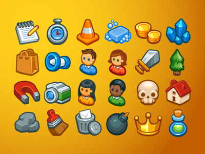 Casual Game Basic Icons Set icons game cartoon