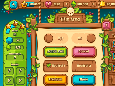 Paradise Lagoon Ui Kit  buttons gems icons rope wood tropical paradise mobile game casual game game vector ui kit