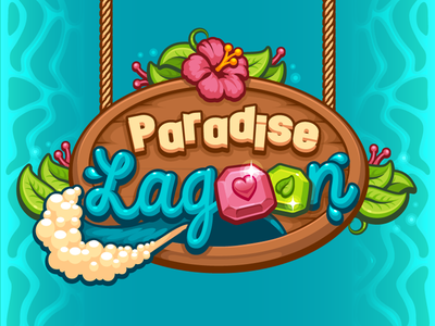 Ultimate Casual Game Ui Kit Logo water wave wood leaves ropes game paradise logo