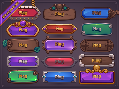 Fantasy Game Button Maker baroque silver gold medieval jewels gems wood fantasy button mobile casual game