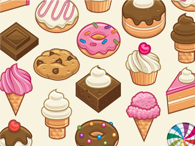 Sweets Icons cupcake cake donut brownie sweets desserts food dessert pink brown ivory sprinkles cheeries vector ice cream candy chocolate cookie whipped cream