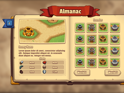 Legends TD Almanac  adobe illustrator vector ui artist ui tower defense ios game ui