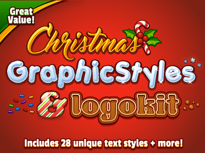 Christmas Graphic Styles And Logokit candy cookie snow christmas logo illustrator vector graphic styles typography