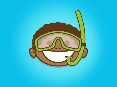 Water Kids Jr kids water caribbean snorkelling character illustration illustrator