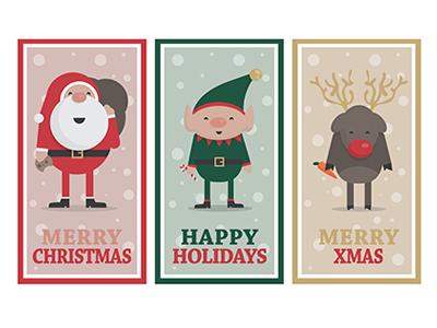 Cute Christmas Banners vector illustrations xmas merry reindeer elf santa claus santa