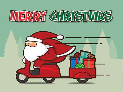 Santa Xpress illustrator illustration scooter illustrations xmas christmas santa claus