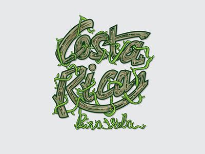 Costa Rica - Pura Vida costa rica green illustrator leaf nature wood wooden lettering