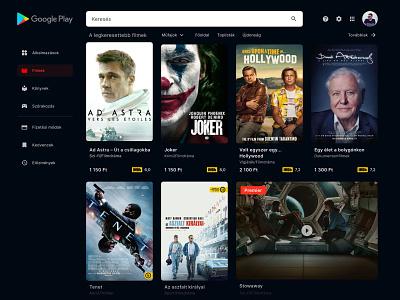 Google Play - Dark Desktop   concept movie concept redesign google play google web ui design ui