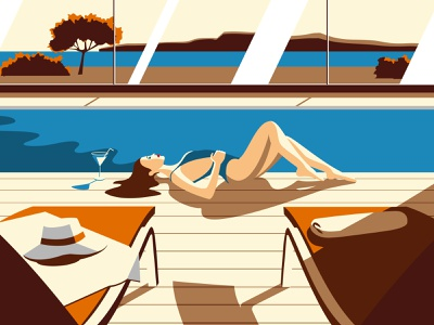 Piscine tan laurent landscape zen sea repos holiday woman orange colorful sun swimming pool poster vectorart vector art minimalism designer vicherd illustration