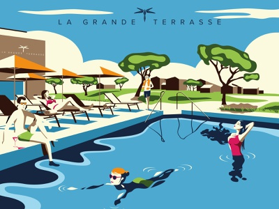 Châtelaillon-Plage Thalasso - Spa Marin - La Grande Terrasse 🏊 design vector art hotel holiday adobe illustrator illustration design art colorful art woman