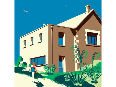 Châtelaillon rue de Tamaris sport vacation minimalist architecture house surfing beach illustration design colorfull surf girl vector holiday adobe illustrator woman colorful