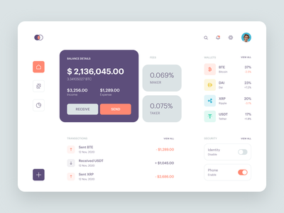 Cryptocurrency Exchange Dashboard cryptocurrency crypto crypto wallet dashboad ui  ux coin blockchain bitcoin banking finance trading platform minimal neat clean modern webapp web website flat design