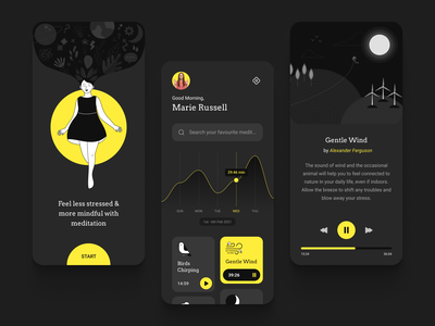 Meditation App design inspiration illustraion player meditation wellness ui ux clean relaxing relax exercise health yoga onboarding mobile flat mindfulness yellow