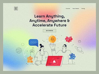 Educational Website Landing Page cources online education school modern educational hero landing page design web illustration website