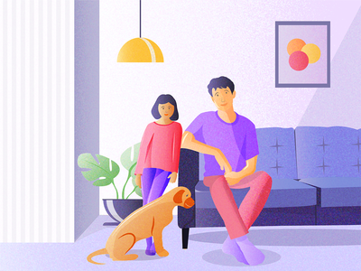 Quality Time at home child and dog child father and child family love illustartion daily colors inspiration illustration dog lover dog illustartion family time family illustartion paiting digital painting art digital art illustartion