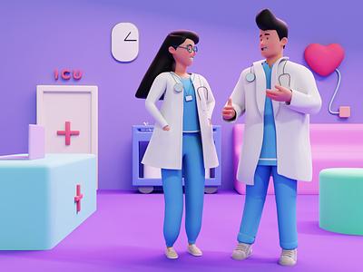 Healthcare 3D Illustration hospital nurse doctor healthcare illustartions healthcare workers 3d illustration blender 3d healthcare 3d healthcare illustration