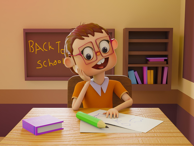 Happy Kid 3D happy kid 3d illustration school 3d kid happy kid illustration blender 3d