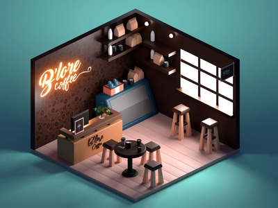 3D Coffee Bar Animation lowpoly render 3d color coffee bar room blender design isometric animation illustration