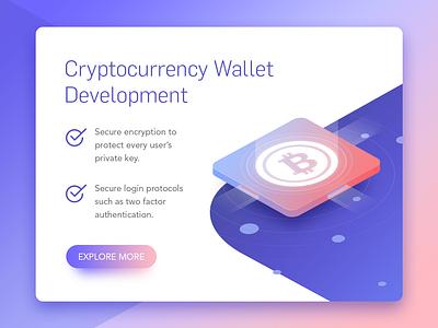 Cryptocurrency Wallet Development cryptocurrency development crypto wallet development mindinventory isometric illustration bitcoin clean gradient web app development