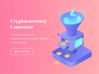 Cryptocurrency Converter machine 2.5d digital design graphic design landing page isometric illustration cryptocurrency converter cryptocurrency funnel