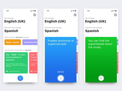 Voice language translation app concept ux ui translate voice language language language translation app animation interaction concept voice translation translate voice language translation app