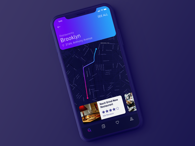 Map interaction prototype iphone x iphonex parallel parallax interaction prototype ui user interface app ux experience simple minimal clean flat neat card nearby path map route animation location dark gradient design ios mobile concept