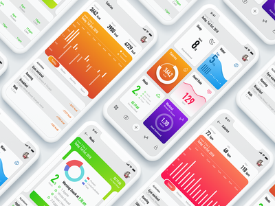 Fitness tracker app madewithadobexd data adobe xd iphone x minimal simple neat clean heart beat diet calories graph chart dashboard tracker fitness
