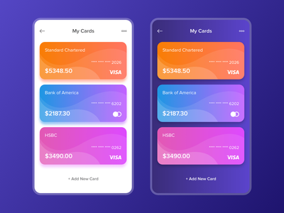 My Cards mobile ux ui list clean cards financial app banking gradient