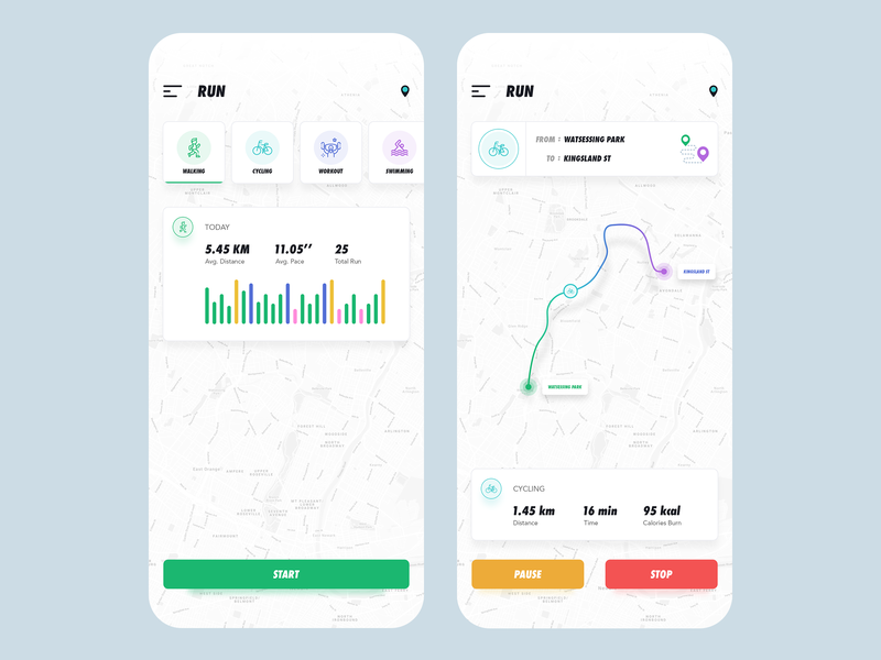 Running App destination cycling trending statistics map uiux design ux ui app sports run running