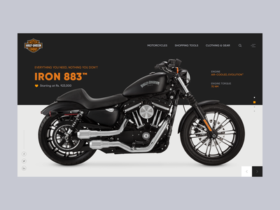 Motorcycle website landing page web iron 883 iron harley davidson accessories bike motorcycle