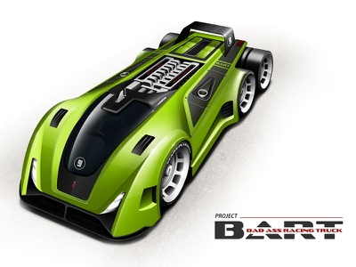 Project BART (Bad Ass Racing Truck) concept illustration machine model race racer sci-fi scifi vehicle rendering