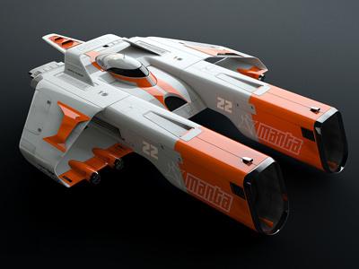 Manta cinema 4d scifi model illustration spaceship vehicle 3d racer ao gi space ship race sci-fi c4d concept space render machine