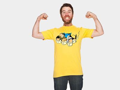 Eggs-Men traditional art dip pen ink apparel design flat clean yellow apparel hand drawn illustrator illustration
