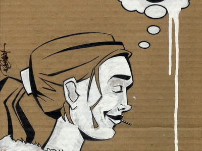 Carhartt WIP painting flat traditional art ink dip pen illustration card postermann cardboard traditional carhartt