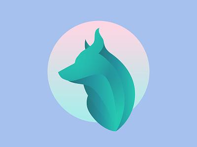 Jade Dog modern brand logo vector illustration gradient