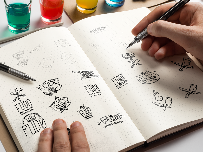 Initial logo sketches logo doodles doodles outdoor cooking butcher knife knife food viking iceland design process work process logo sketches sketching sketches initial sketchs branding logo
