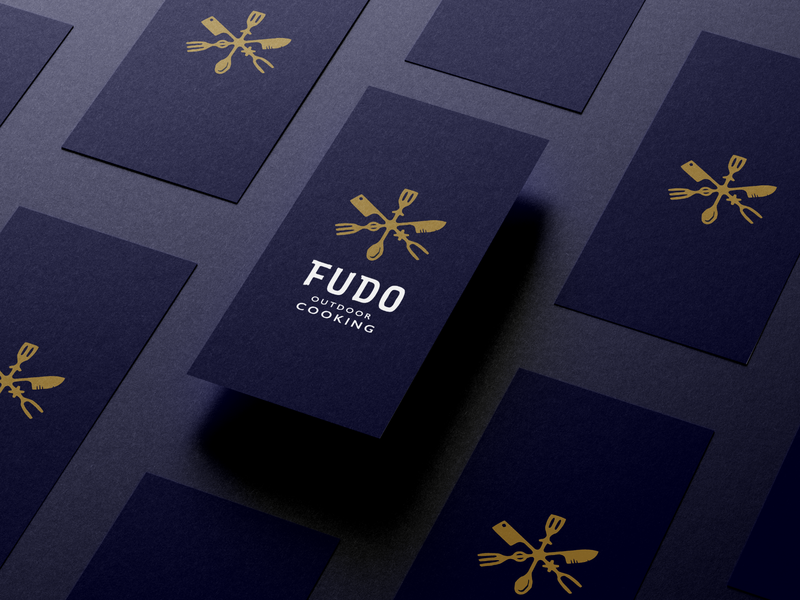 """FUDO"" custom logo work raw symbol gold cooking food iceland scandinavian runes scandinavia spoon outdoor cooking bbq fork knife butcher knife runes logotype"