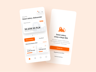 """""""Moje ING"""" mobile UI/UX redesign accessibility user centered design clean mobile ui mobile interface financial app uxdesign uidesign bank app ux ui uiux"""