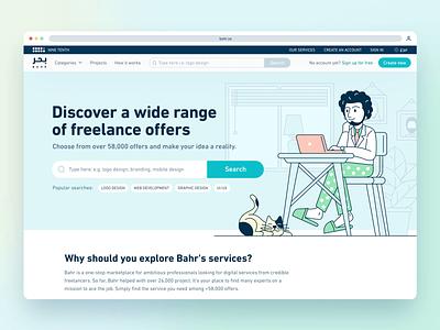 Bahr: Freelancers for hire / homepage ui ux design freelancers marketplace animation homepage custom illustration tsh product design ux ui