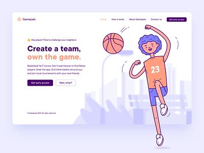 Gamepals app concept #1 web app illustration basketball app concept app design tsh the software house app inspiration ui ux uiux