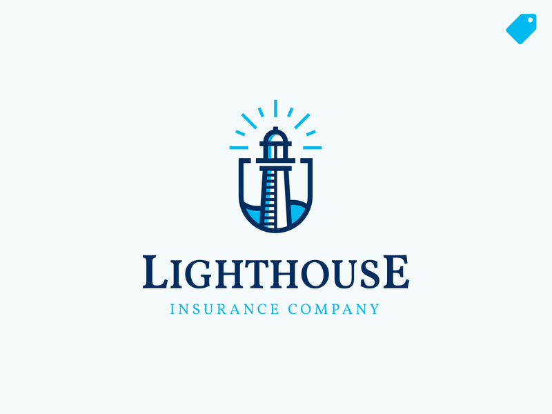 """Lighthouse"" logo template insurance logoforsale lighthouse logo lighthouse illustration logo branding"