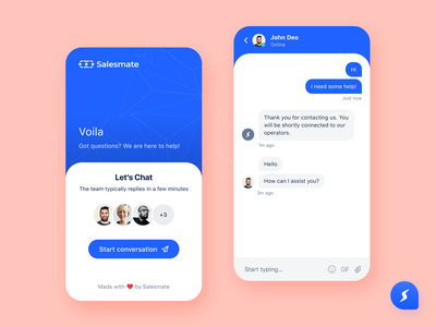 Chat app for sales CRM sales ui ux ui design chat box chat bubble conversation chat chat bot web app chat design clean chat app